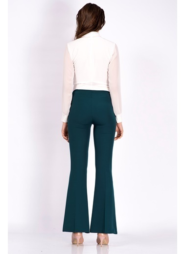 İroni Lycralı İspanyol Paça Pantolon Yeşil